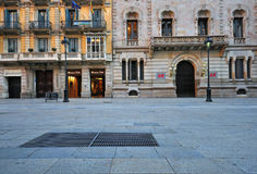 Empty street in Barcelona old town Stock Photo
