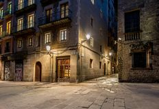 Barri Gotic at night Stock Photography