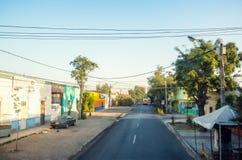 The empty street of Barrio Estacion Central in Santiago, Chile. SANTIAGO, CHILE - NOVEMBER 9, 2016: The empty street of Barrio Estacion Central. This stock photo