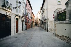 Empty street in Burgos in Spain. Empty street of the old historical center in Burgos, Spain Royalty Free Stock Photo