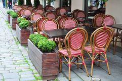 Empty street cafe Stock Photos