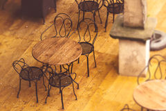 Empty Street Cafe Chairs and Tables Stock Photo