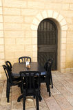 Empty Street Cafe in Jerusalem Stock Photo