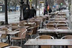 Empty street cafe on Unter den Linden Stock Photo