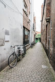 Empty street in the city of Bruges. Royalty Free Stock Photos