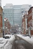 Empty street in the Birmingham City Centre on the snowy day. Empty street in the City centre due to snow and all buses cancellation Stock Photography