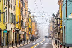 Empty street with colorful buildings in Parma. Emilia-Romagna, Italy Royalty Free Stock Image