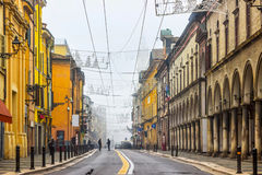 Empty street with colorful buildings in Parma. Emilia-Romagna, Italy Stock Photography