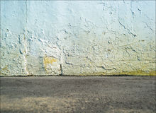 Empty street concrete wall with ground floor Royalty Free Stock Photo