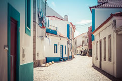 Empty street in Ericeira Portugal Royalty Free Stock Images