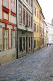 Empty street in europe town. Empty historical street in europe town stock photo