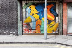 Empty street graffiti background Stock Photos