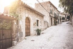Empty street historic old town of Valldemossa on the island of Majorca Royalty Free Stock Photography
