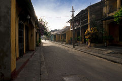 Empty street of Hoi An in early morning Royalty Free Stock Photo