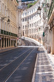 Empty street in Lisbon downtown Royalty Free Stock Images