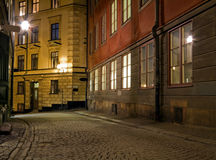 Empty street at night. Royalty Free Stock Photography