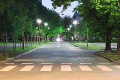 Empty street at night. Empty city street at night royalty free stock image