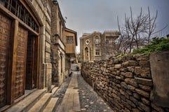 Empty street in old city of Baku, Azerbaijan. Old city Baku. Inner City buildings. Royalty Free Stock Photography