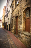 Empty street in the old city center Royalty Free Stock Photo