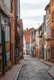 Empty street in the old town of Stade. Germany Royalty Free Stock Photography