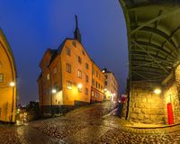 Night street in Stockholm, Sweden royalty free stock images