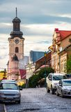 Empty street of old town on summer evening. Cobblestone pavement on the ground. beautiful scenery with architecture of Austria-Hungary times stock image