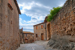 Empty street in Peratallada, Spain Stock Photo