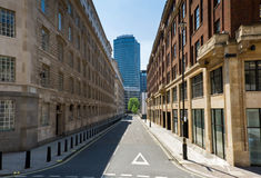 Empty street. Perspective of the empty London's street and residential buildings Stock Photo
