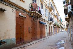 Empty street perspective. Old Tangier, Morocco Stock Photography