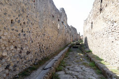 Empty street in Pompeii ruins Royalty Free Stock Photos