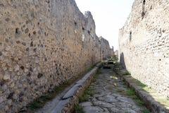Empty street in Pompeii ruins Royalty Free Stock Photos