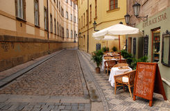 Empty Street in Prague Stock Photos