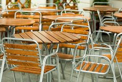 Empty street restaurant. Empty chairs of street restaurant Stock Photography