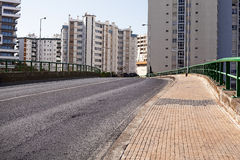 Empty street road in city with house Royalty Free Stock Photo