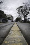 Empty Street in San José, Costa Rica. Empty Street in San José, Costa Rica, low perspective royalty free stock image