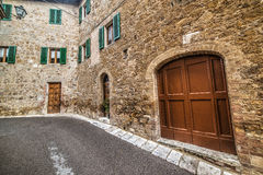 Empty street in San Quirico d`Orcia Royalty Free Stock Photo