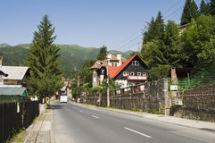 Empty street in Sinaia mountain resort Royalty Free Stock Photo