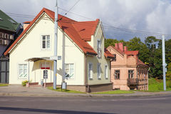 Empty street and small house in morning Stock Photo