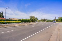 Empty street during a weekday in the residential area of Santa Clara, Silicon Valley, San Francisco bay area, California stock photography
