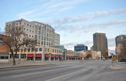 Empty street in Winnipeg. View on the downtown of Winnipeg City, Manitoba province, Canada. The photo was taken in November 2013 Royalty Free Stock Photo