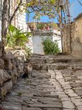 Empty streets of Berat in fall royalty free stock photos
