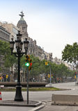 Empty streets in the downtown early in the morning8 may 2010 in Barcelona, Spain Royalty Free Stock Photo