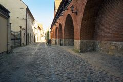 Empty streets of Riga old town. Empty streets of the old town of Riga pavers early summer morning Royalty Free Stock Photo