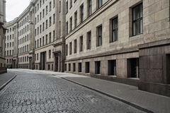 Empty streets of Riga old town. Stock Photo