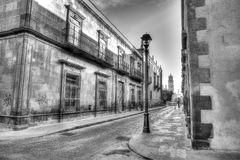 Early morning view of the streets of San Luis Potosi, Mexico. Empty streets of San Luis Potosi`s downtown area with the church in the background Stock Image