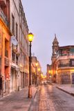 Early morning view of the streets of San Luis Potosi, Mexico. Empty streets of San Luis Potosi`s downtown area Royalty Free Stock Images