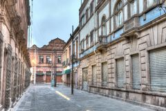 Early morning view of the streets of San Luis Potosi, Mexico. Empty streets of San Luis Potosi`s downtown area Stock Image