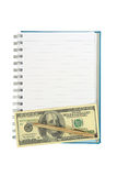 Empty strip line notebook with twisted gold pen over 100 dollar note Royalty Free Stock Images