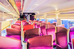 Empty suburb train interior Royalty Free Stock Image