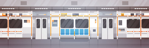 Empty Subway Car Interior Modern City Public Transport, Underground Tram Stock Photography